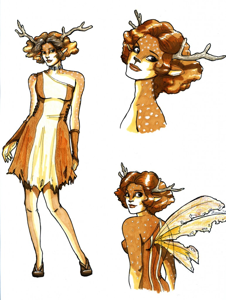 Deer faerie costume design