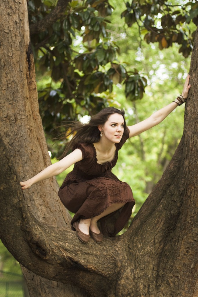 Brown peasant dress in a tree