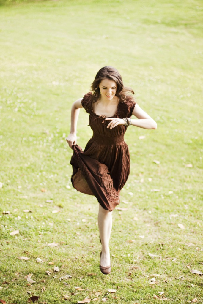 Brown peasant dress running