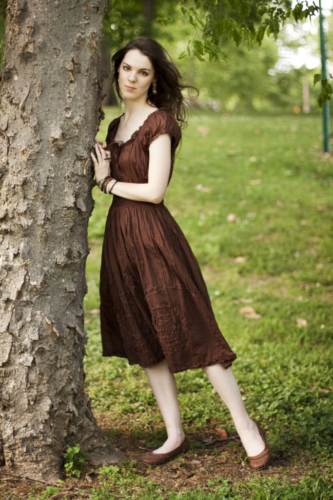 Brown peasant dress