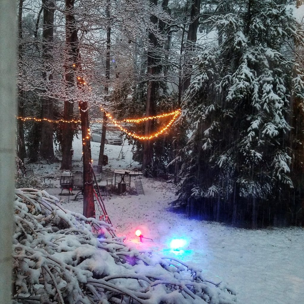 Winter front yard light and snow aesthetic by The Lady Nerd