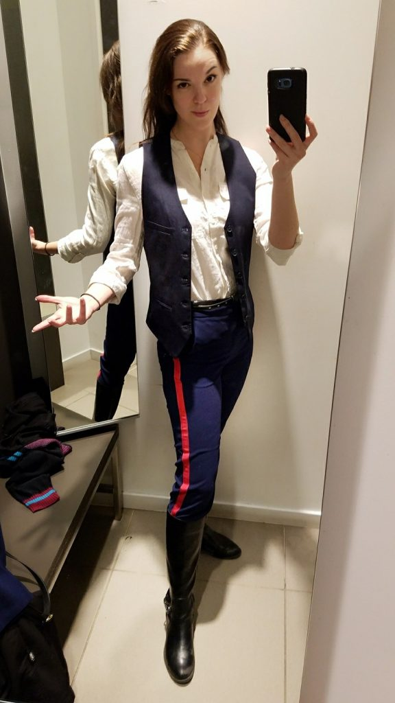 H&M Han Solo. Geekbounding with navy and red striped pants by The Lady Nerd