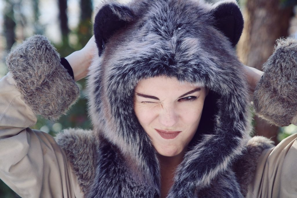 Silly itch in a Grey Wolf Spirit Hood. Made in California. Worn by The Lady Nerd. Photographed by The Gluttonous Geek