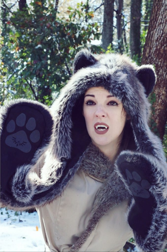 Incoming snowball! Grey Wolf Spirit Hood. Made in California. Worn by The Lady Nerd. Photographed by The Gluttonous Geek