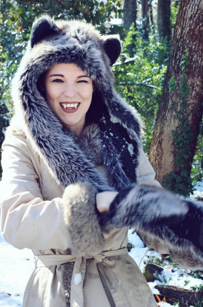 Grey Wolf Spirit Hood smile. Made in California. Worn by The Lady Nerd. Photographed by The Gluttonous Geek