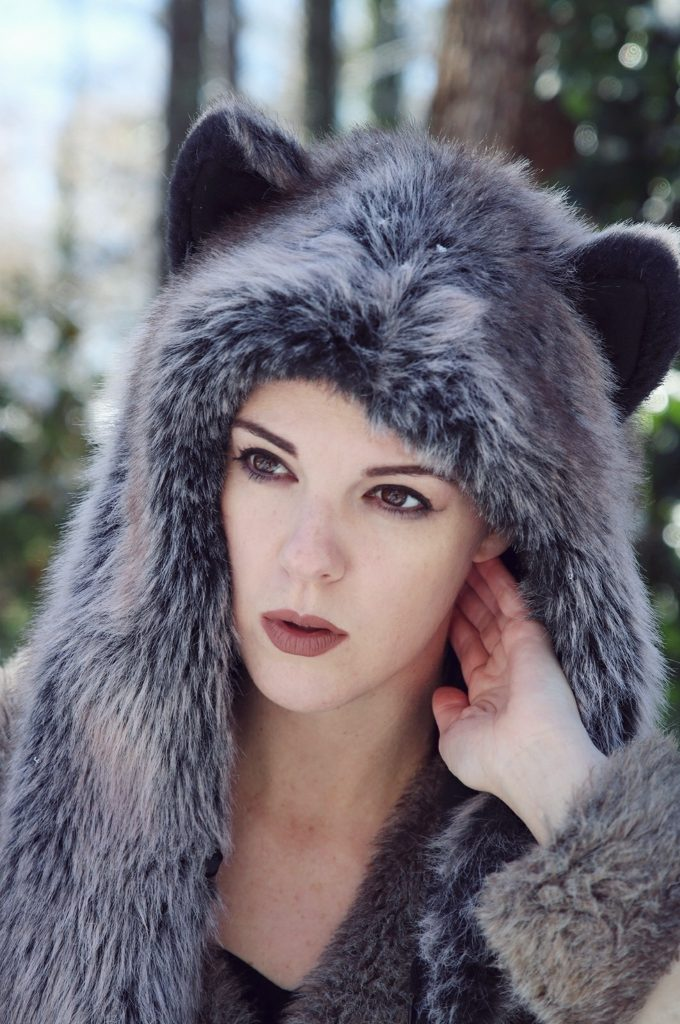 Grey Wolf Spirit Hood portrait. Made in California. Worn by The Lady Nerd. Photographed by The Gluttonous Geek