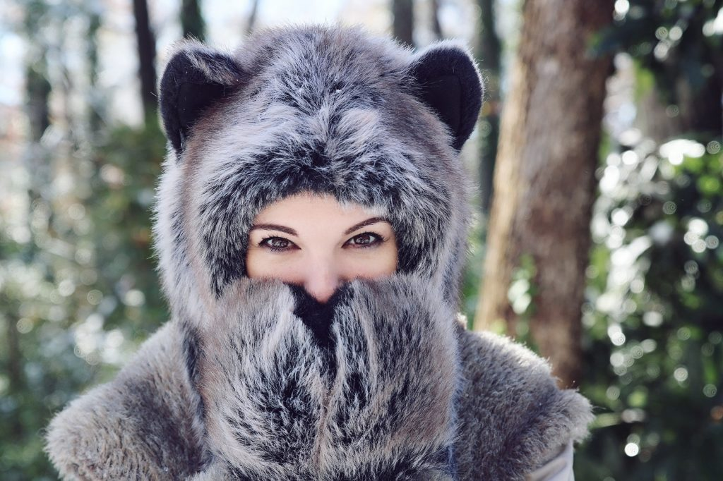 Happiness in a Grey Wolf Spirit Hood. Made in California. Worn by The Lady Nerd. Photographed by The Gluttonous Geek