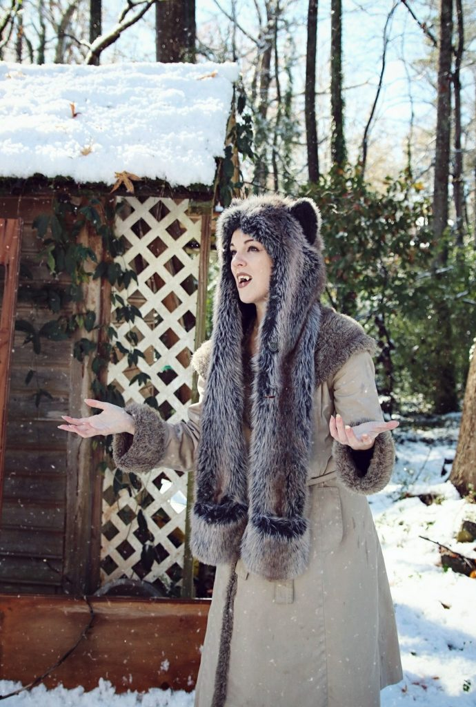 Grey Wolf Spirit Hood in the snow. Made in California. Worn by The Lady Nerd. Photographed by The Gluttonous Geek