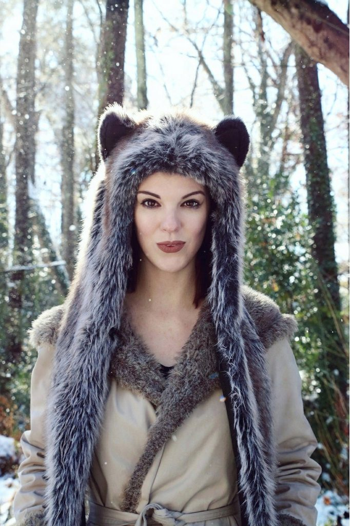 Grey Wolf Spirit Hood. Made in California. Worn by The Lady Nerd. Photographed by The Gluttonous Geek