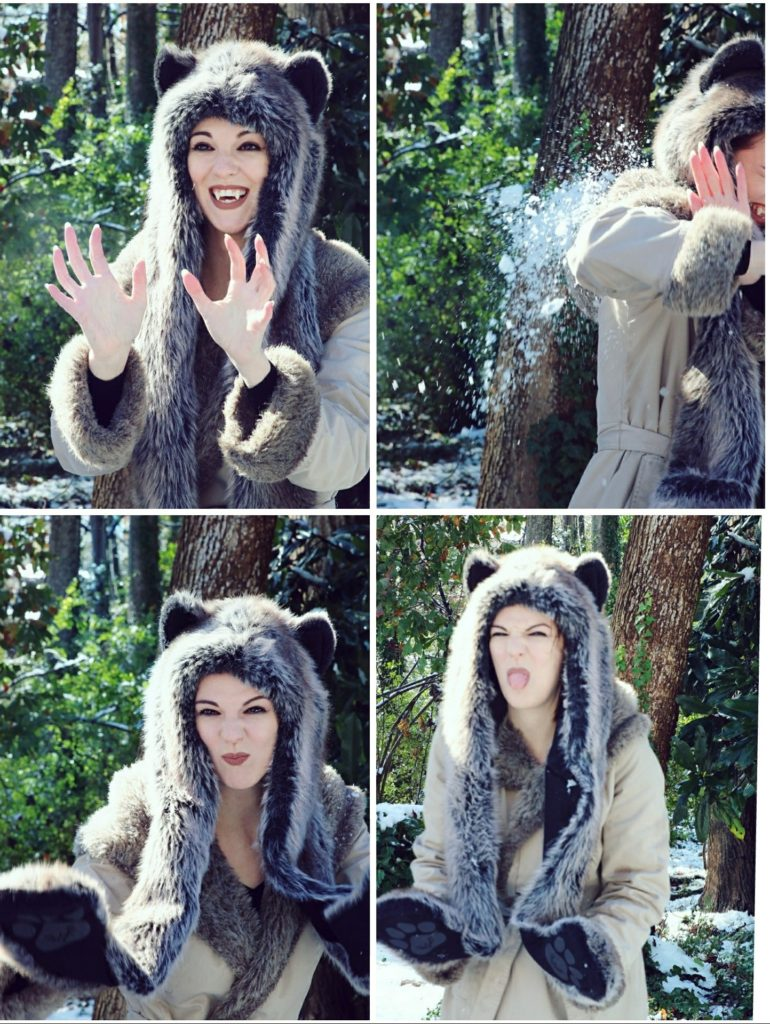 Grey Wolf Spirit Hood snowball fight. Made in California. Worn by The Lady Nerd. Photographed by The Gluttonous Geek