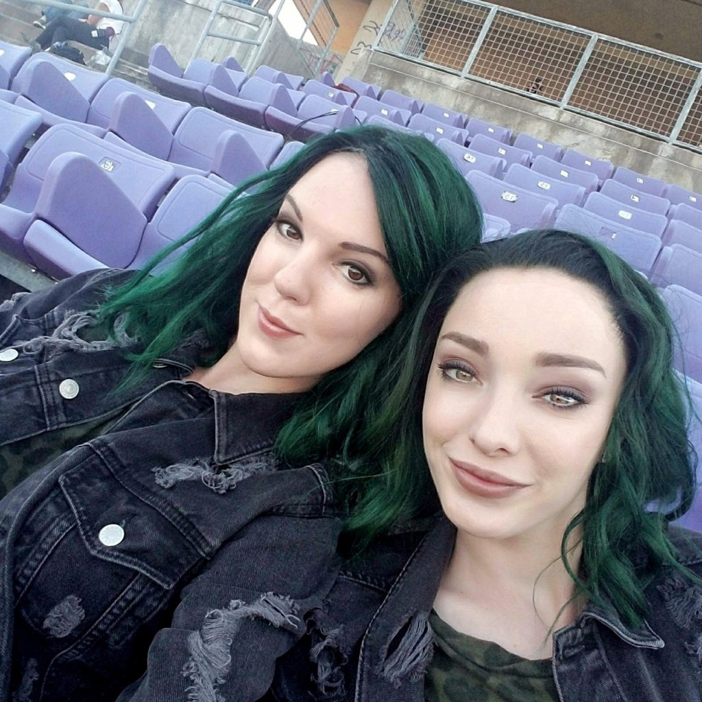 Emma Dumont and her stand-in, Briana.
