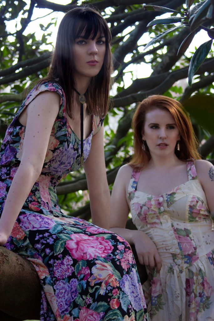 Femme Floral girls boho chic editorial. Models in a tree Vintage clothes from Coco and Mischa. Photographed by Astrid Kallsen.