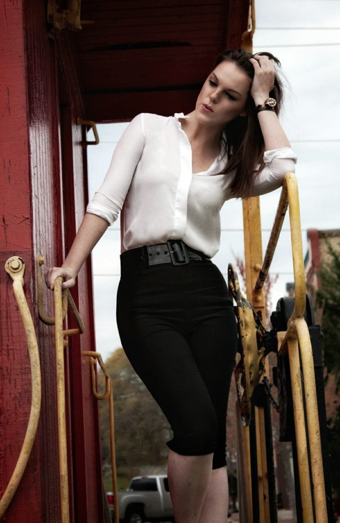 Thoughts on a train. Model - The Lady Nerd. Photography by DEW Photography