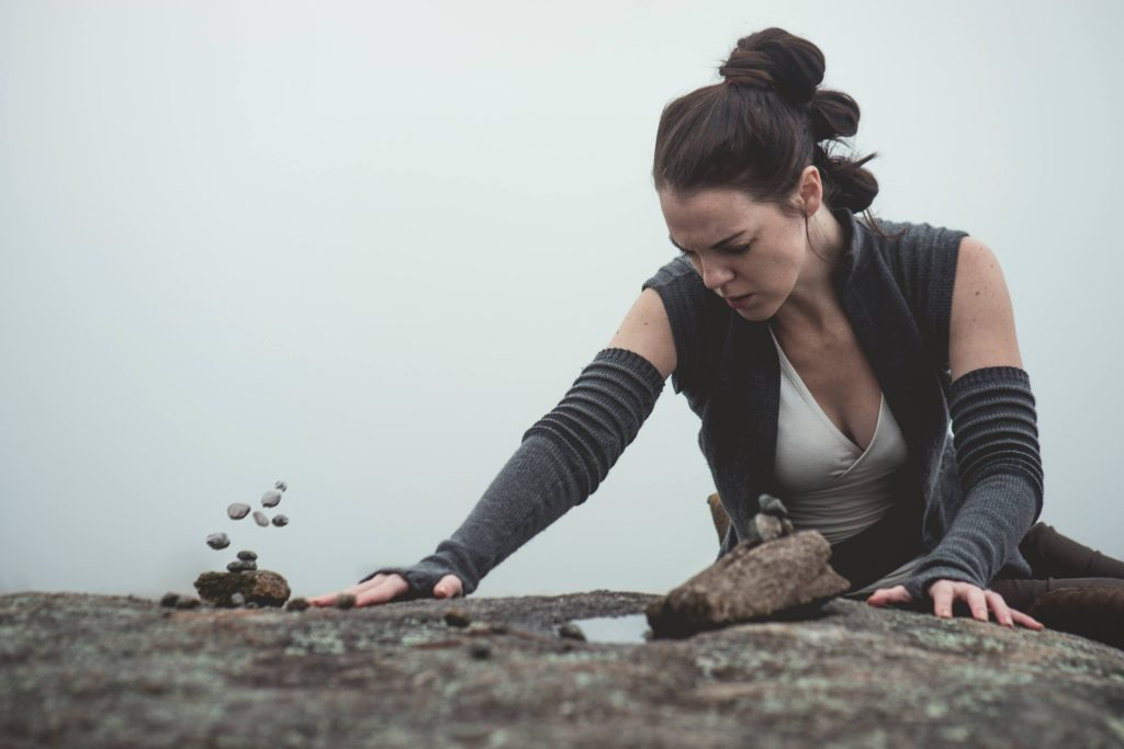 Use the Force! Rey cosplay by The Lady Nerd. Photographed by FotoMike