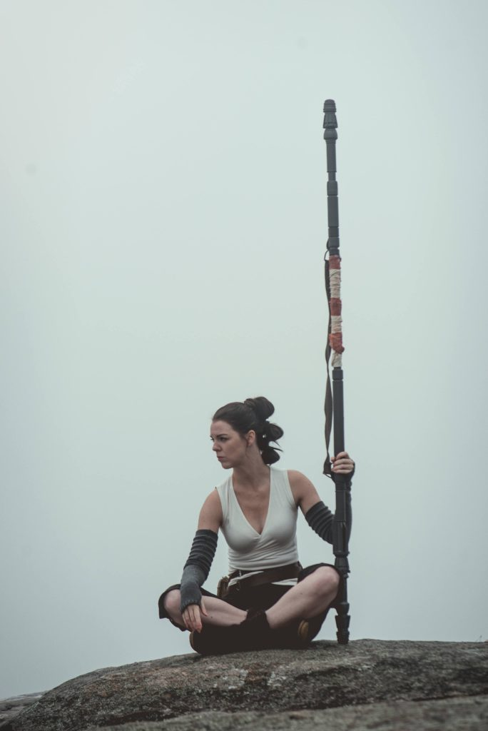 Contemplation. Rey cosplay by The Lady Nerd. Photographed by FotoMike. Staff by the Helpful Nerd