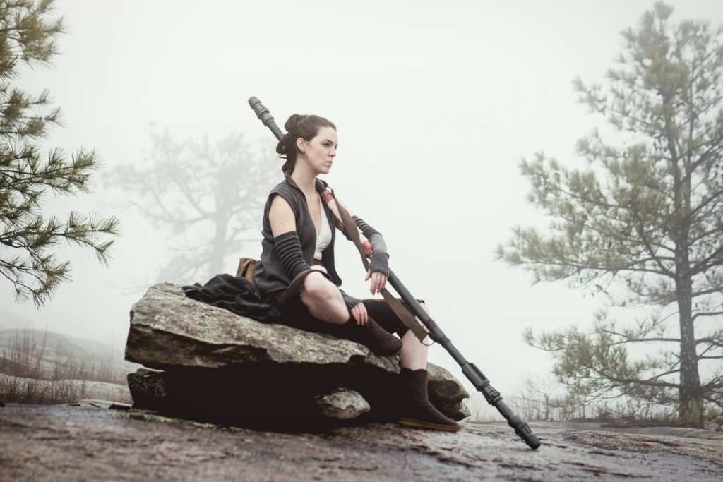 Rey contemplating on Ahch-to. Cosplay by The Lady Nerd. Photographed by FotoMike