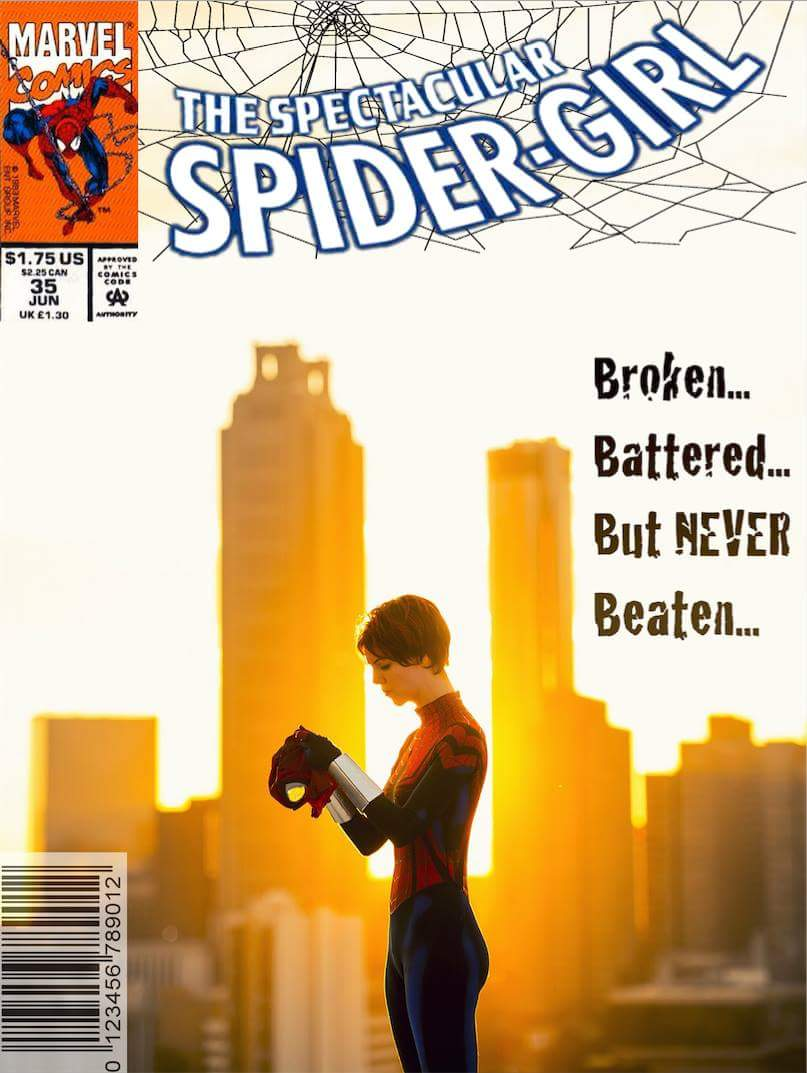 Mock Spider-girl comic cover by Robb Pendleton. Cosplay by The Lady Nerd. Photograph by Michael Rivera.