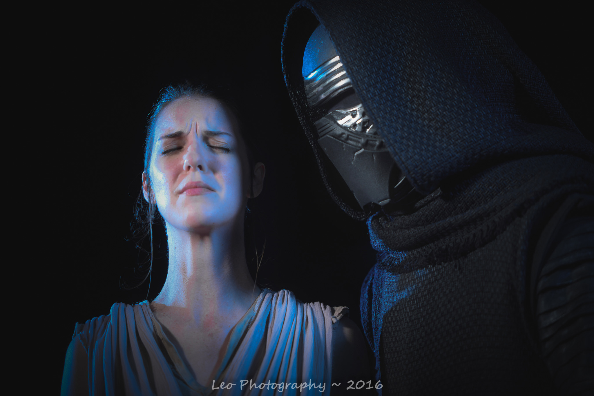 Show my the ways of the force. Kylo Ren by Jeremy Berry. Rey by The Lady Nerd. Picture by David Leo Photography.