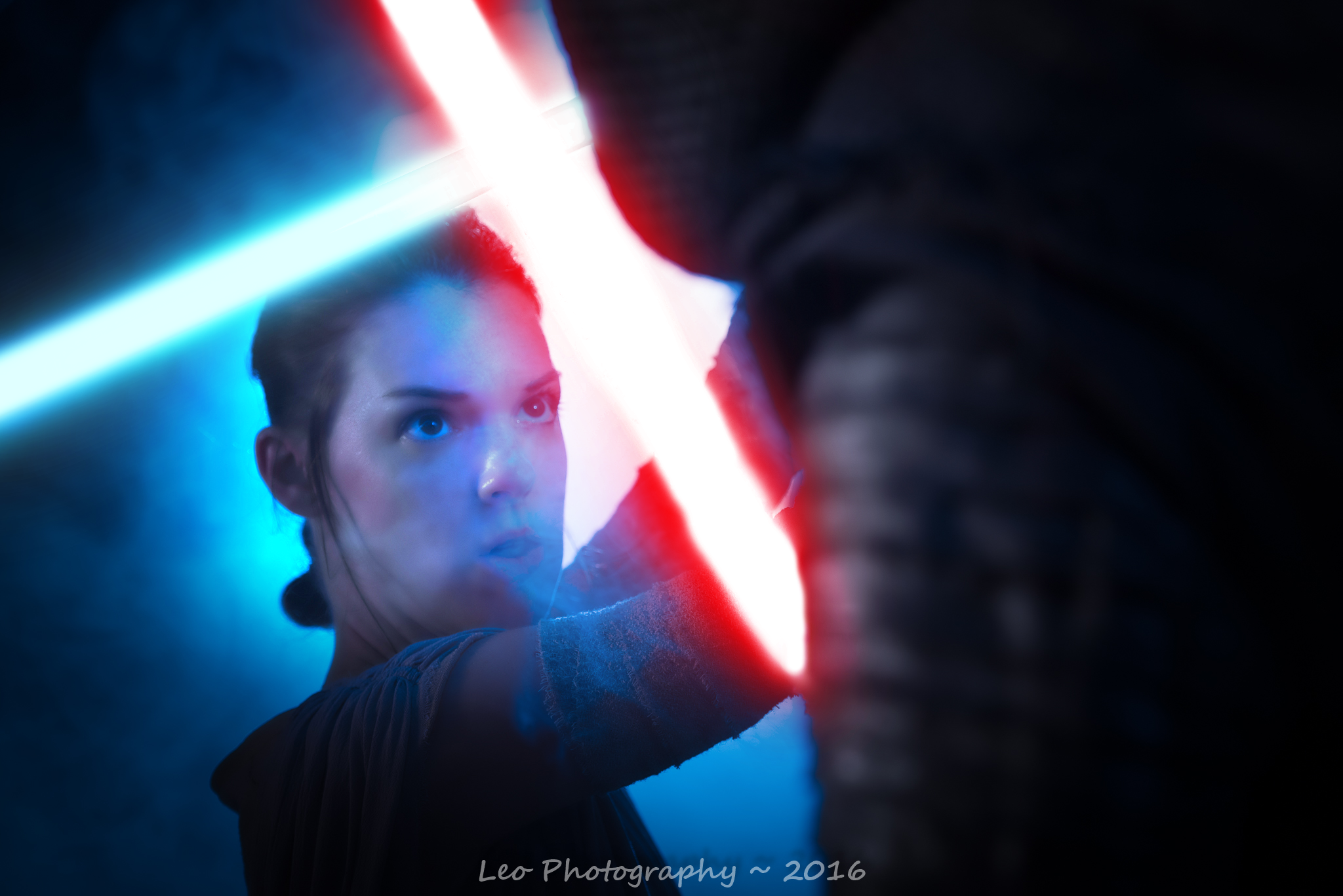 Rey with Lightsaber. Rey by The Lady Nerd. Photography by David Leo