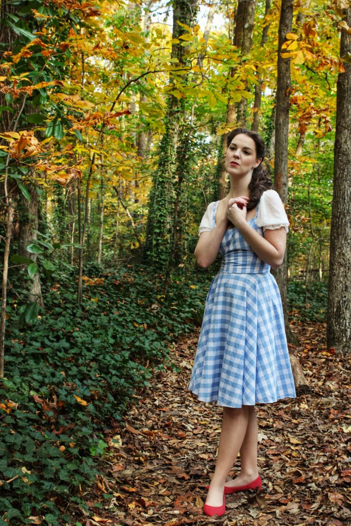 Wizard of Oz Dorothy inspired outfit compiled and modeling by The Lady Nerd. Photographed by Catherine, The Gluttonous Geek