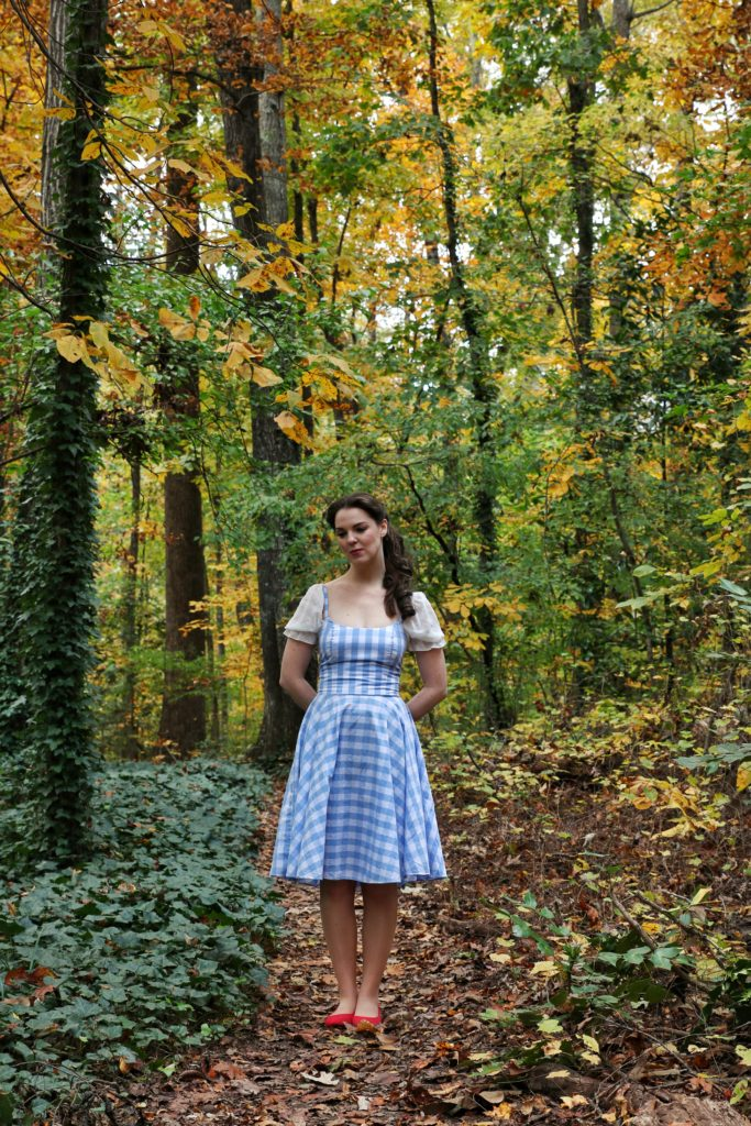Dorothy of Oz inspired outfit compiled and modeling by The Lady Nerd. Photographed by Catherine, The Gluttonous Geek